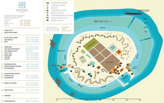Bandos Maldives карта отеля